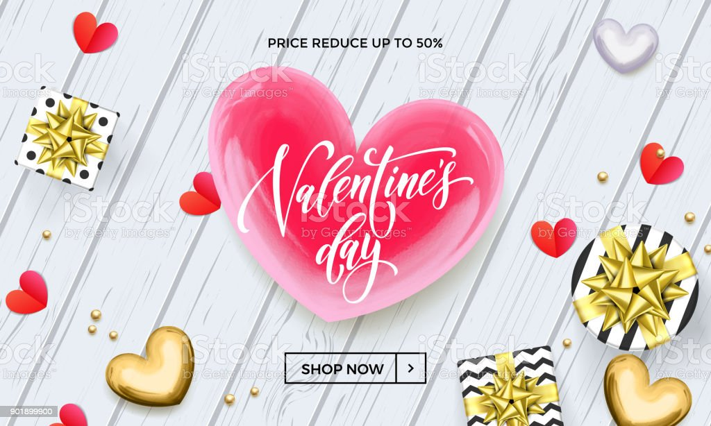 Valentine Day Sale Banner Or Greeting Card Of Red And Golden Hearts