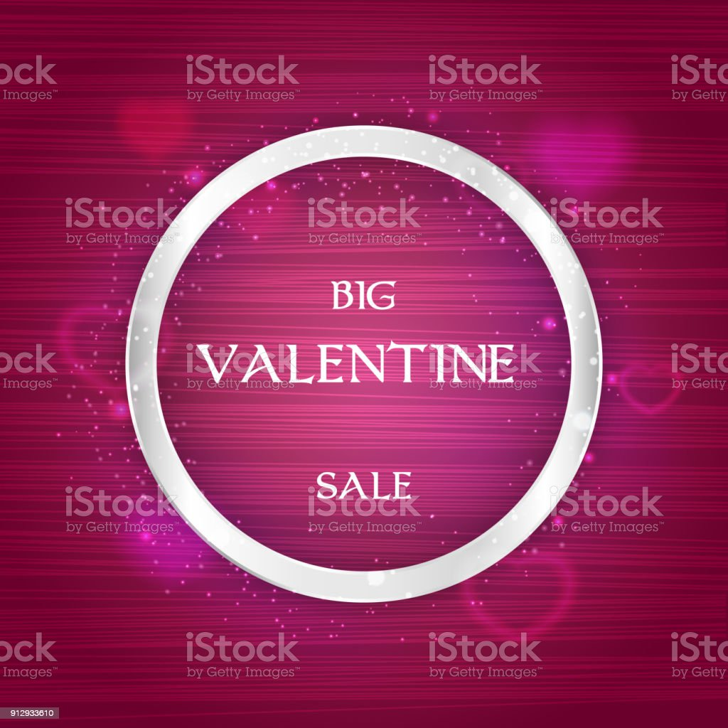 Valentine Tag Verkauf Banner Mit Silbernen Rahmen Herzen Und Lichter ...