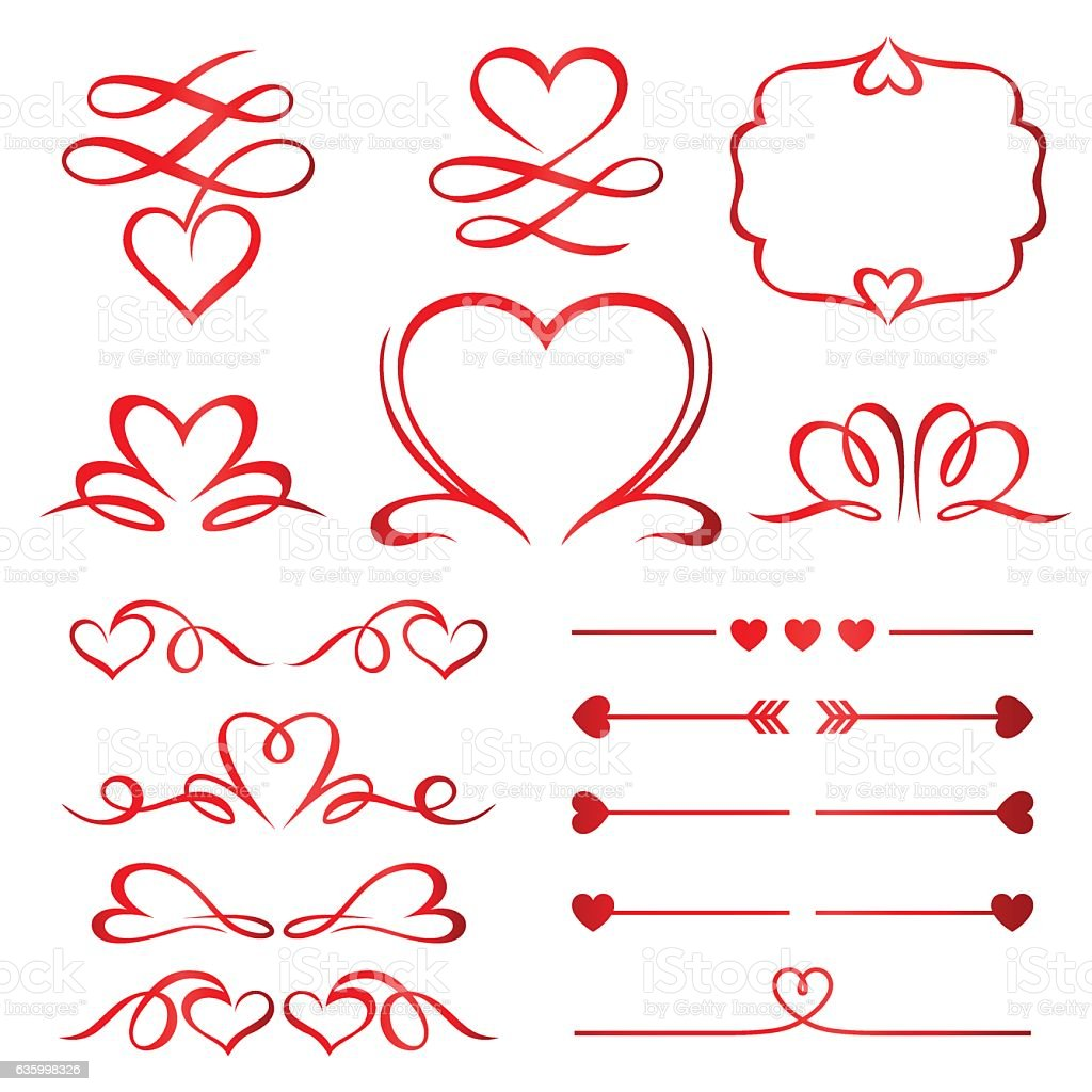 Valentine Day Set Of Red Arrows, Dividers And Calligraphic Elements  Royalty Free Stock Vector