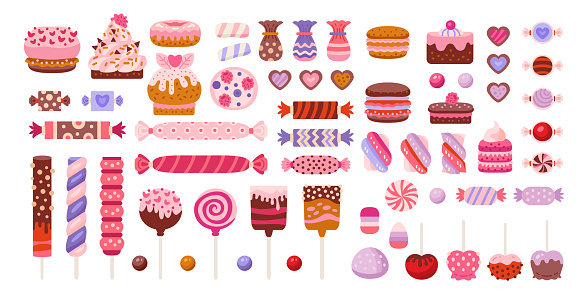 Valentine day sweets set isolated in white