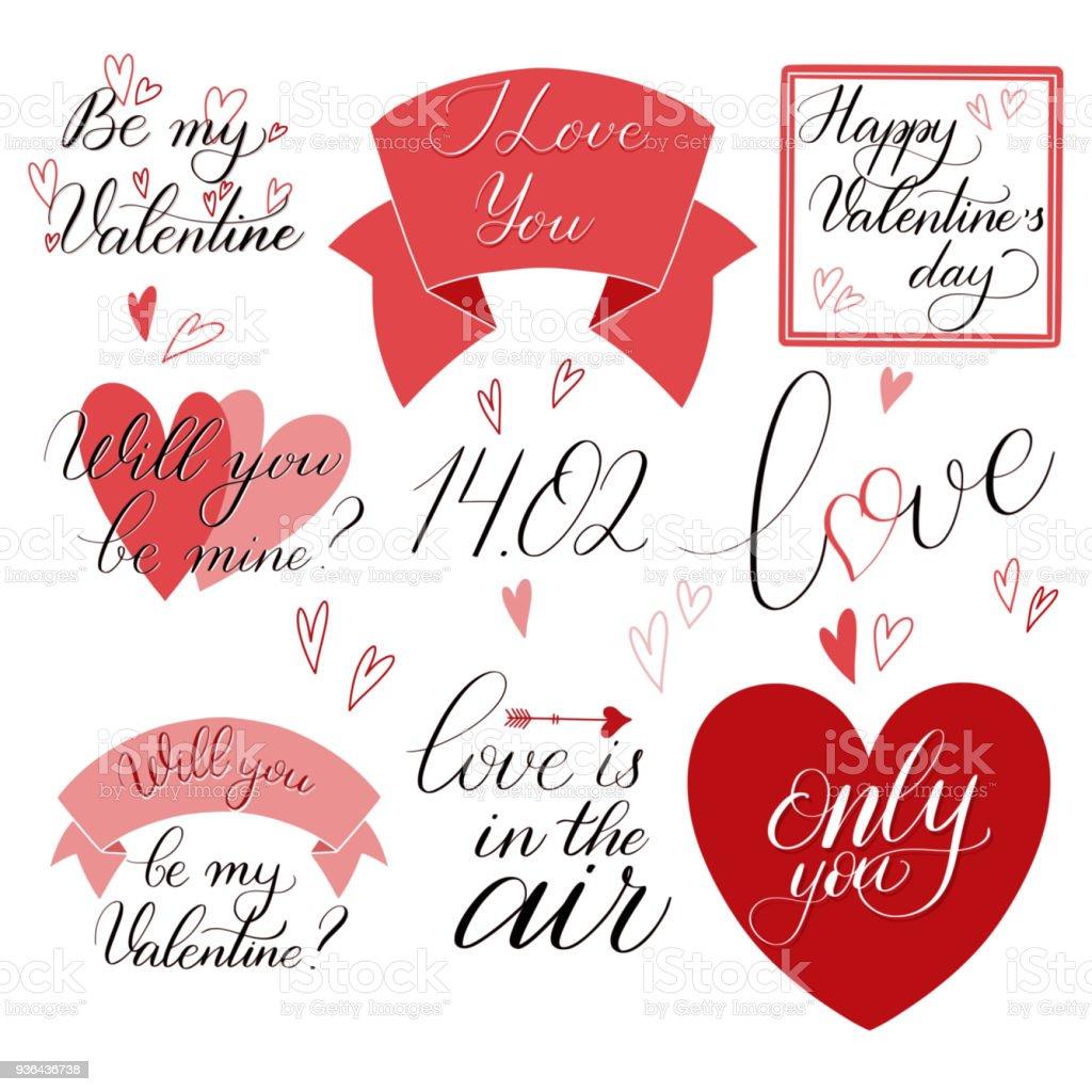 Texto Del Día De San Valentín En Color Rojo - Arte vectorial de ...