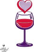 Valentine day theme vector illustration. Design wineglass