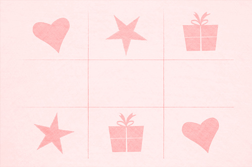 Valentine Day themed pink coloured vector backgrounds with stars, two hearts and gift boxes or presents in a 3 by 3 partitioned frame
