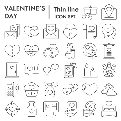Valentine day thin line icon set. Love and winter holiday signs collection, sketches, logo illustrations, web symbols, outline style pictograms package isolated on white background. Vector graphics.