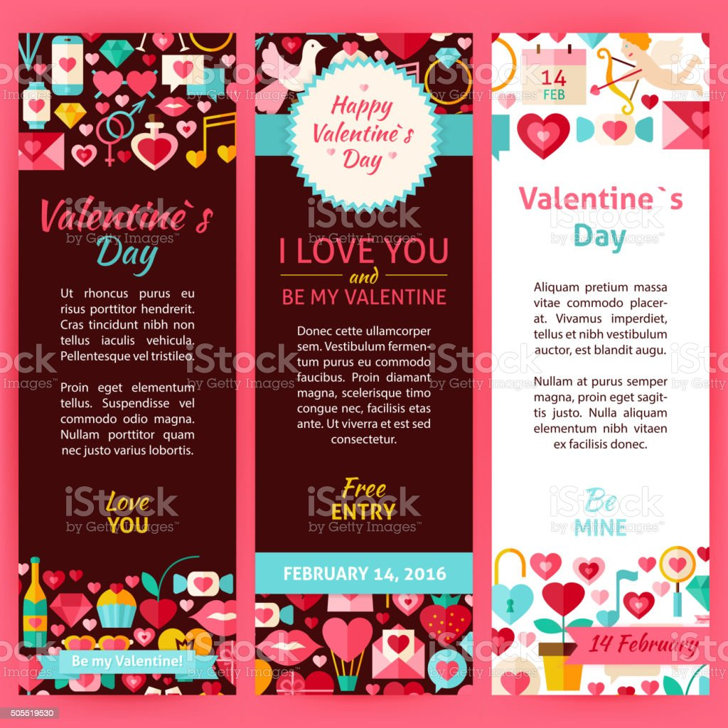 Valentine Day Vector Party Invitation Template Flyer Set Stock ...