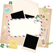 Valentine Design Element: Greeting Envelope with Paper and Photo Frames