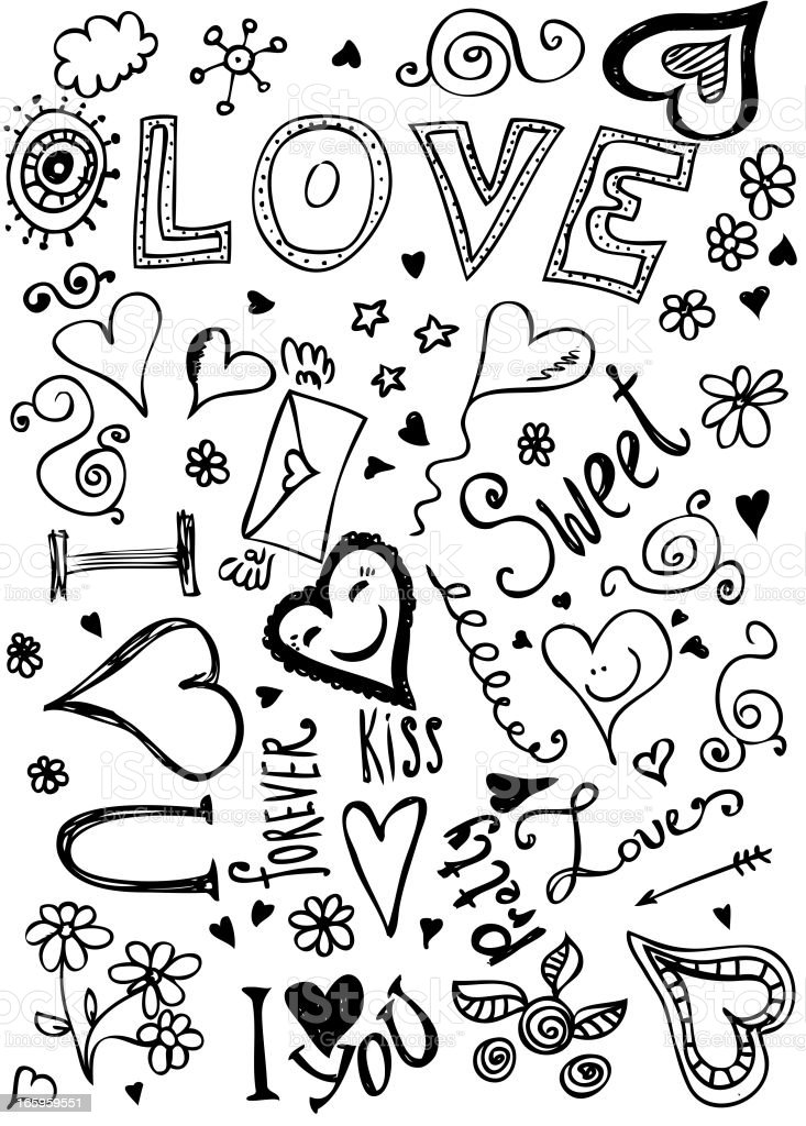 Valentine doodles of hearts and flowers and loving words royalty-free stock vector art