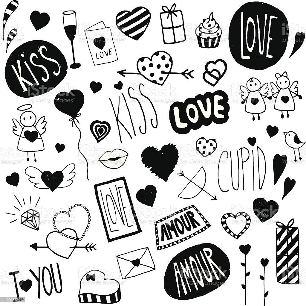 Valentinstag und Kritzeleien Lizenzfreies valentinstag und kritzeleien stock vektor art und mehr bilder von amor