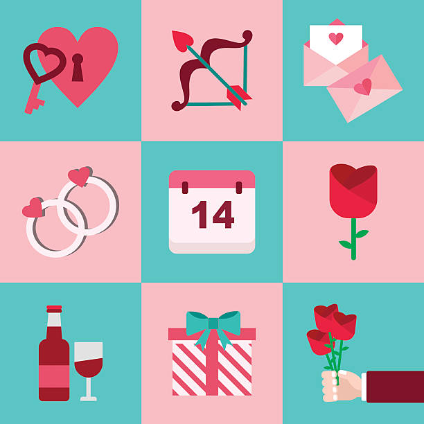 valentine flaticon set - date night stock illustrations