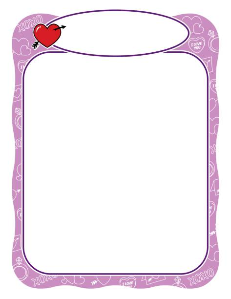 Valentine frame with heart and arrow, purple and wavy border vector art illustration