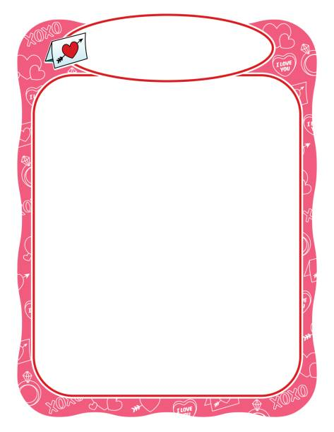 Valentine frame with love letter, pink and wavy vector art illustration