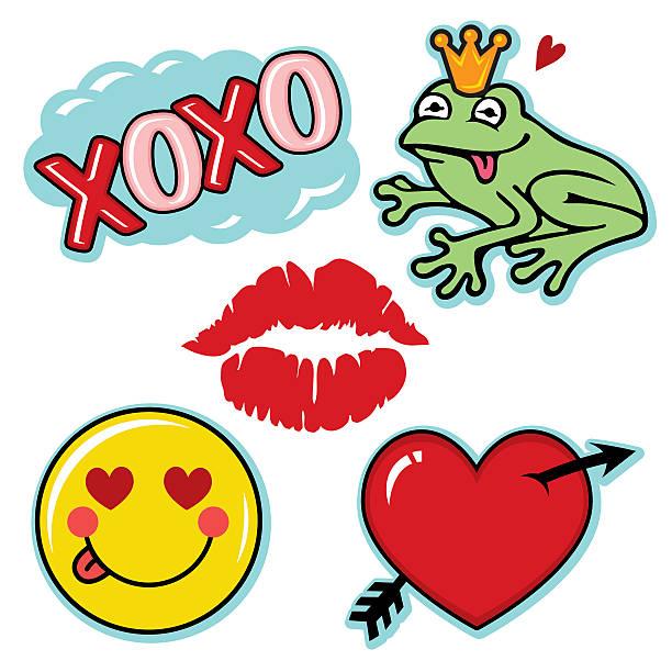 Valentine fresh and fun love icon set vector art illustration