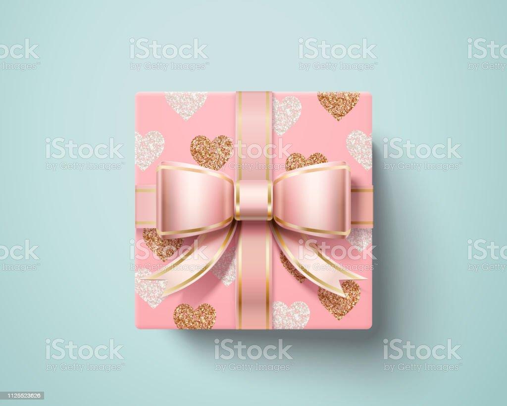 Valentine gift box vector art illustration