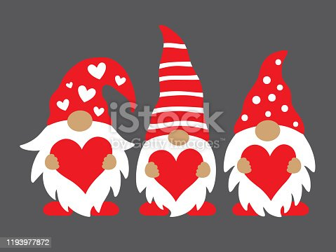 Cute three valentine gnomes holding hearts vector illustration.