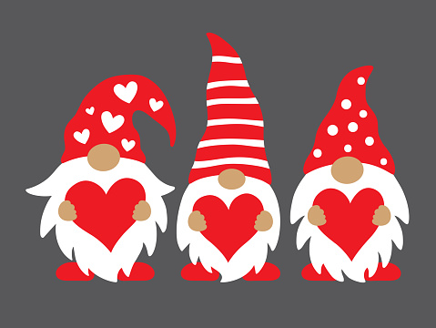 Valentine Gnomes Holding Hearts Vector Illustration.