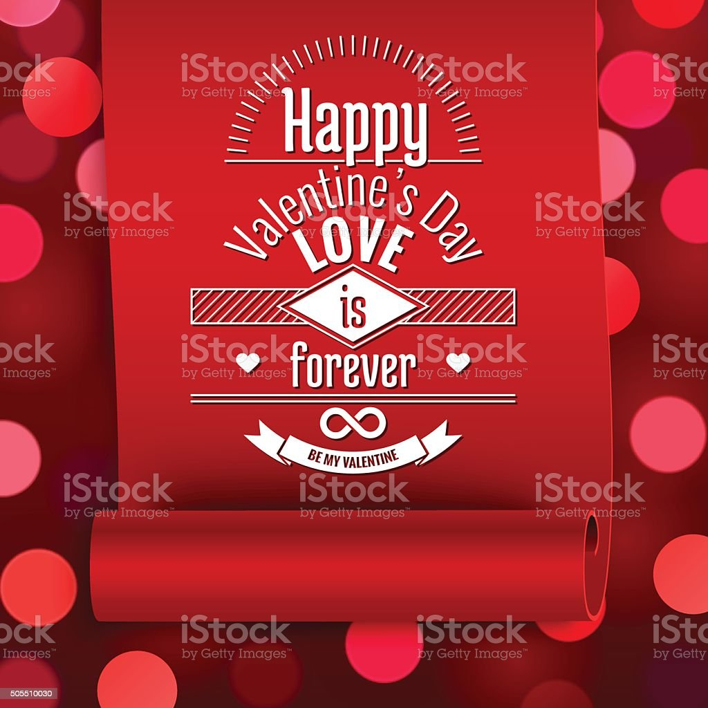 Valentine Greeting Card Love Message On Red Ribbon Stock Vector Art