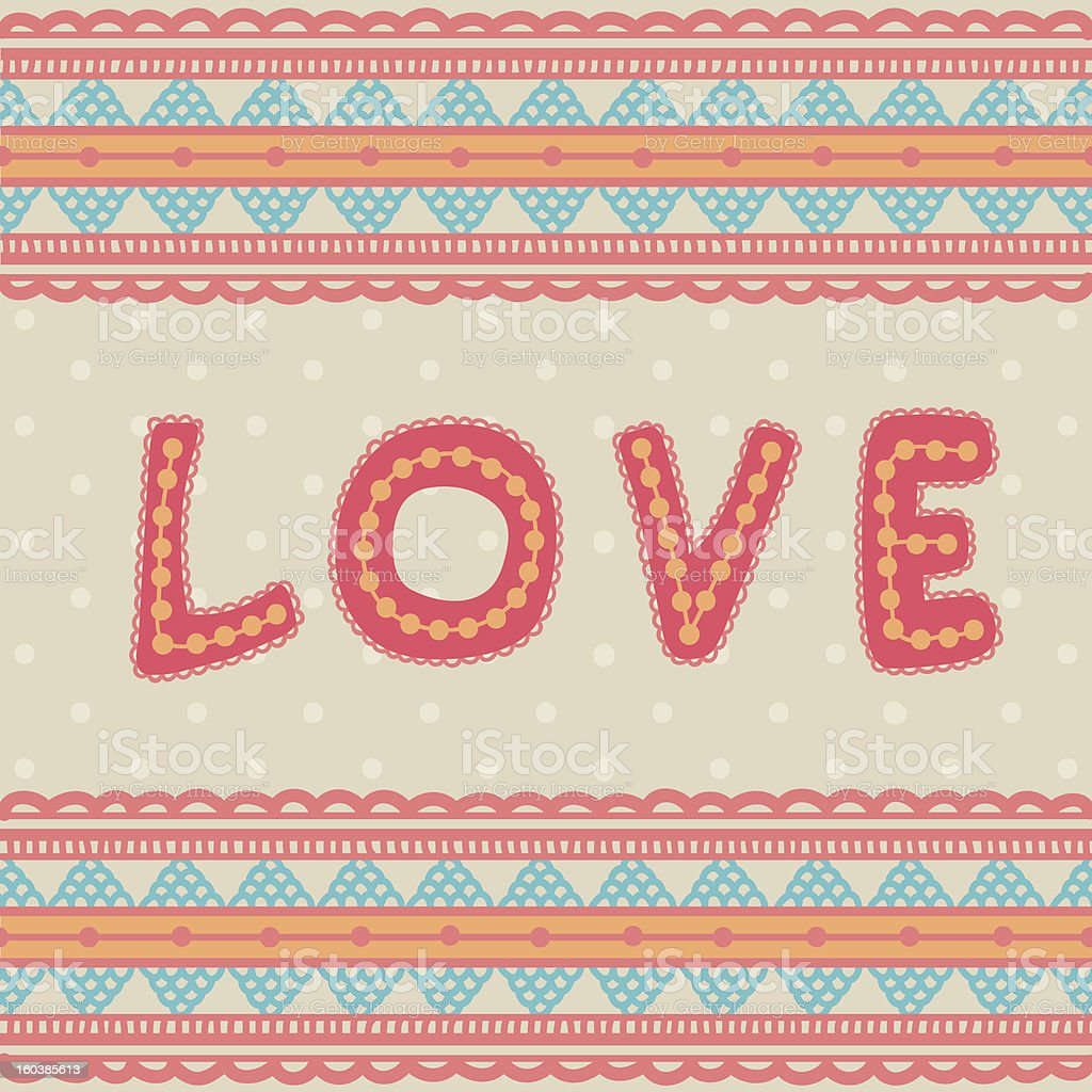 Valentine greeting card with colourfull embroidery royalty-free valentine greeting card with colourfull embroidery stock vector art & more images of abstract