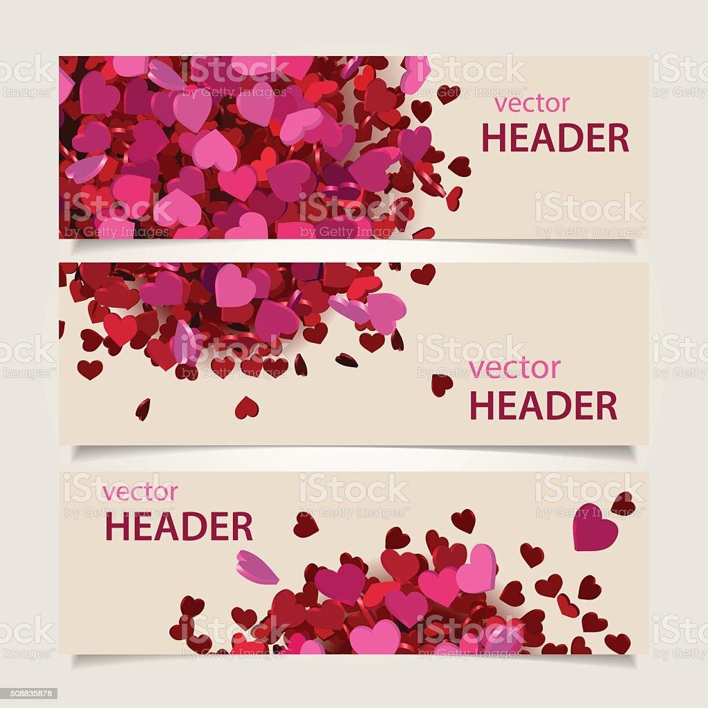valentine headers set vector art illustration