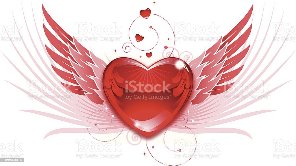 Valentine Heart and Wings v2 royalty-free stock vector art