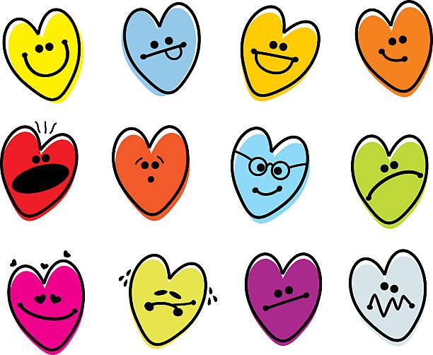 Corazón de San Valentín Emoticons - ilustración de arte vectorial