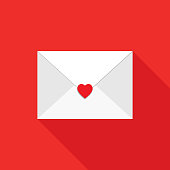 Vector illustration of a white envelope with a red heart seal on a red square background.