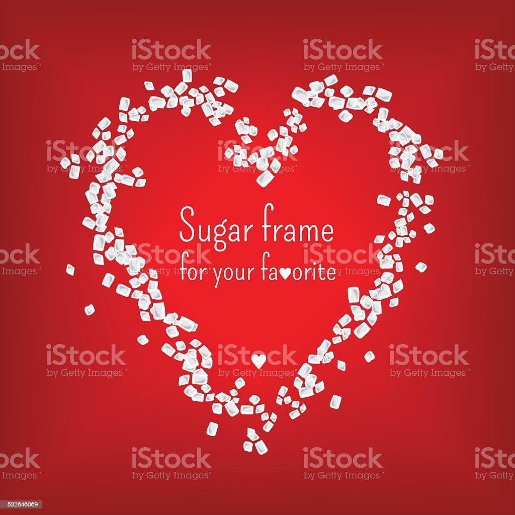 Valentine heart frame with sweet sugar. vector. vector art illustration