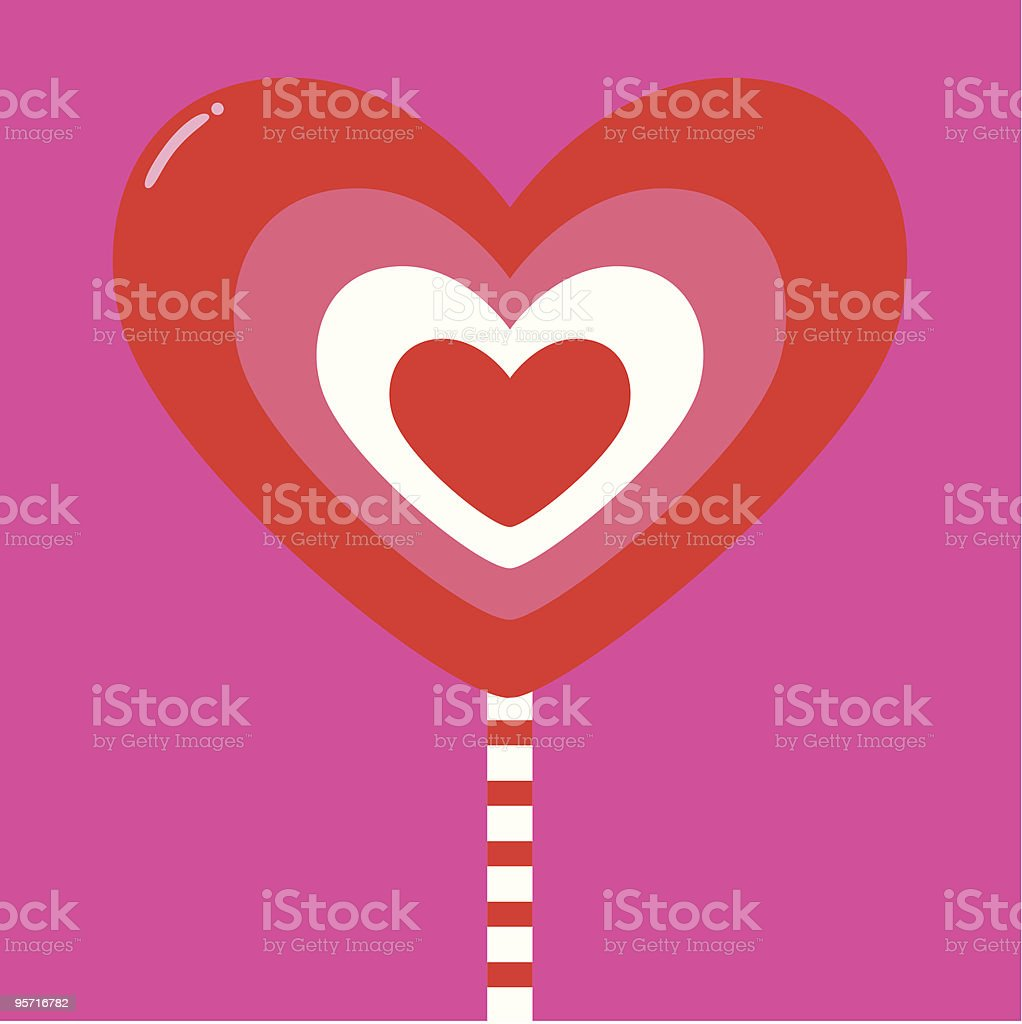 Valentine Heart lollipop vector art illustration