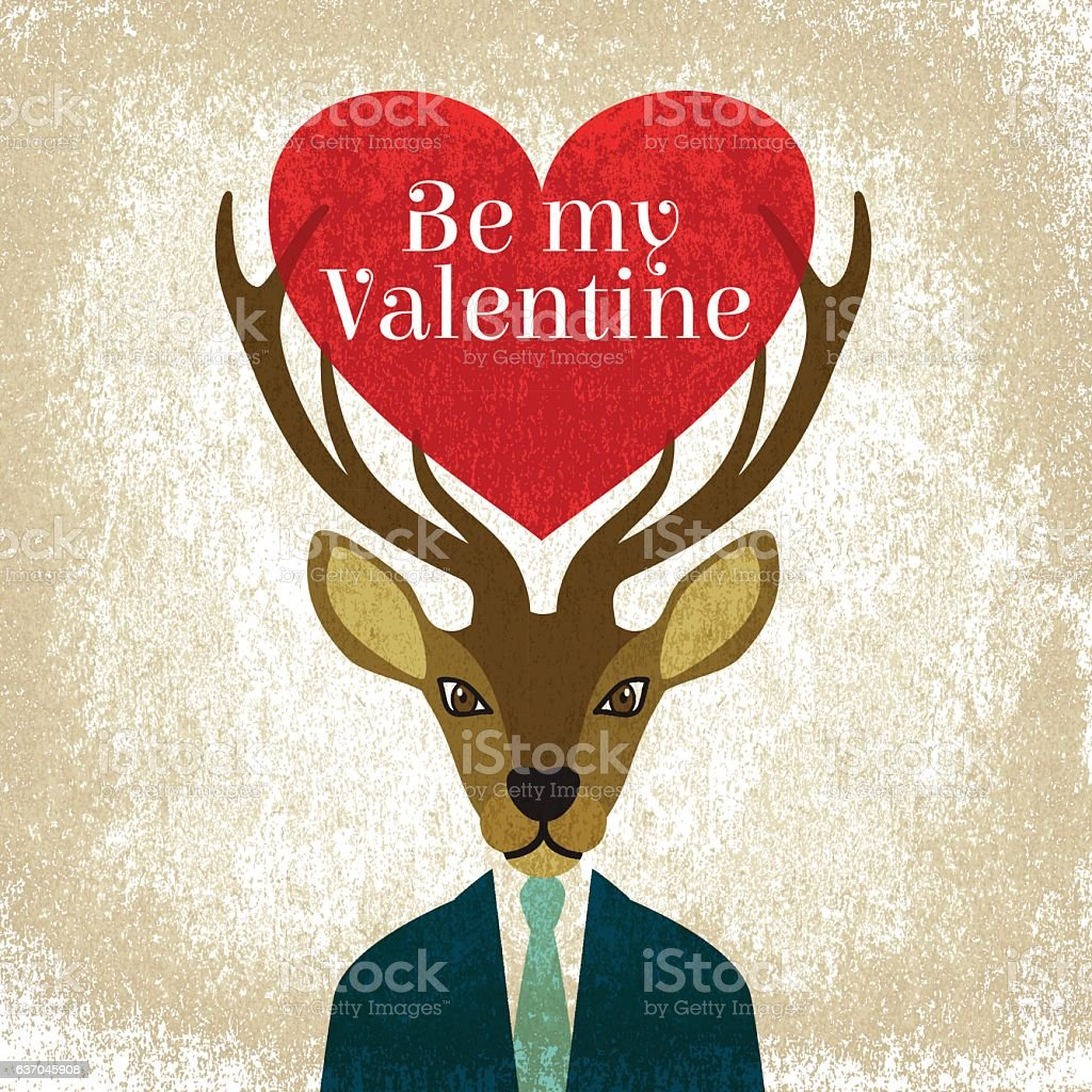 Download Valentine Heart Love Deer Heart Vintage Text Stock ...