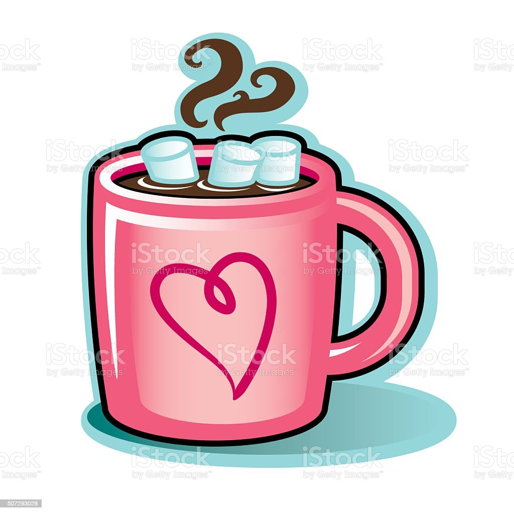 valentine heart mug with hot cocoa chocolate and marshmallows stock rh istockphoto com free clipart hot chocolate and cookies Free Polar Express Clip Art