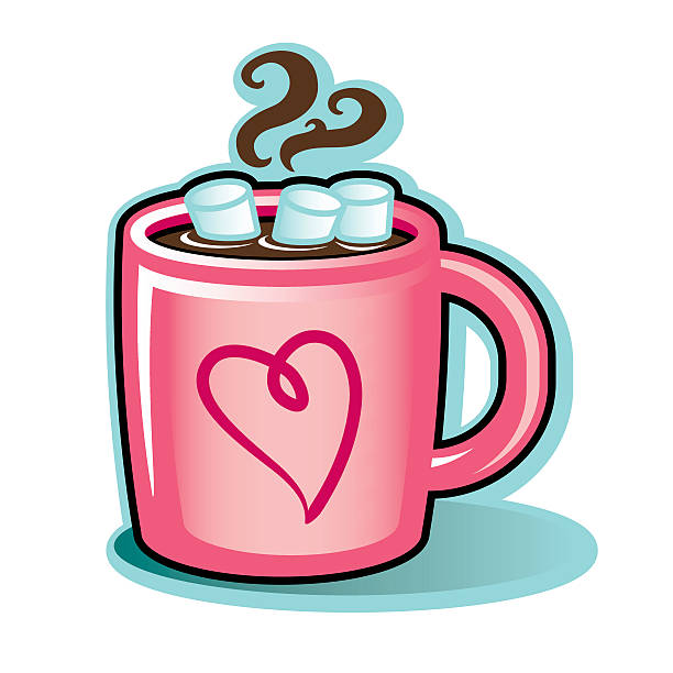 Valentine heart mug with hot cocoa chocolate and marshmallows vector art illustration