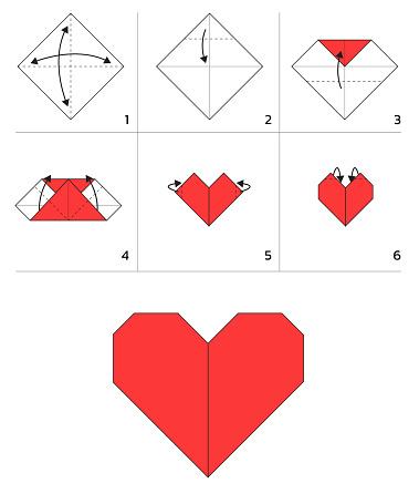 Valentine Heart Paper Folding Tutorial Sequence Vector Illustration