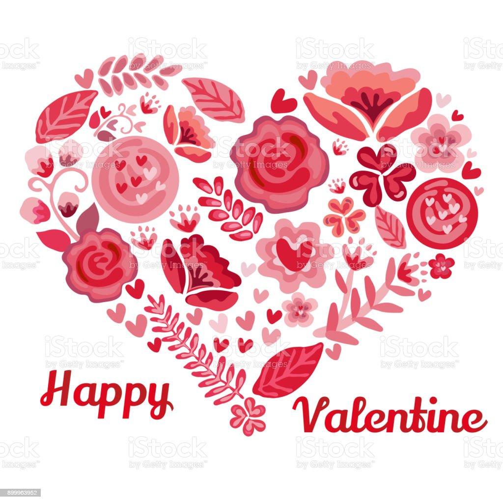 Forma De Corazón De San Valentín Por Flor Arte Vectorial De Stock