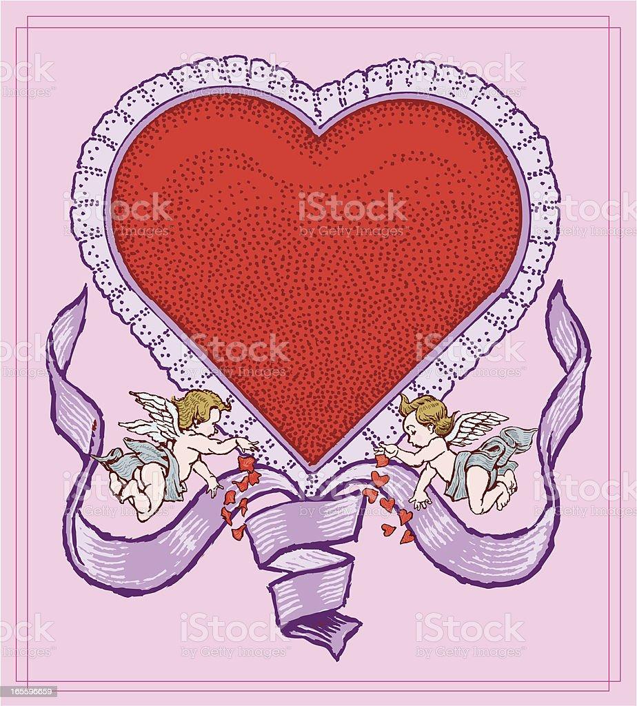 Corazón de San Valentín con Cupids y cinta ilustración de corazón de san valentín con cupids y cinta y más banco de imágenes de alegre libre de derechos