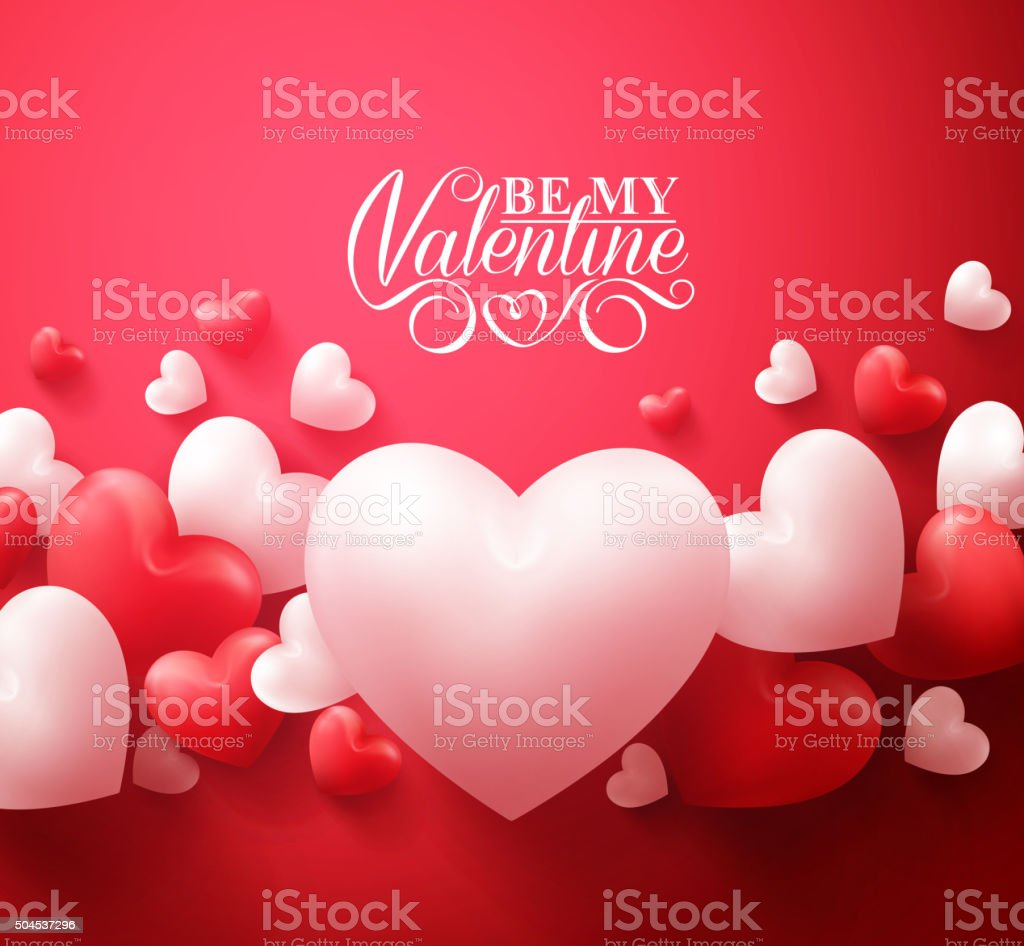 Valentine Hearts Background Floating with Happy Valentines Day Greetings vector art illustration