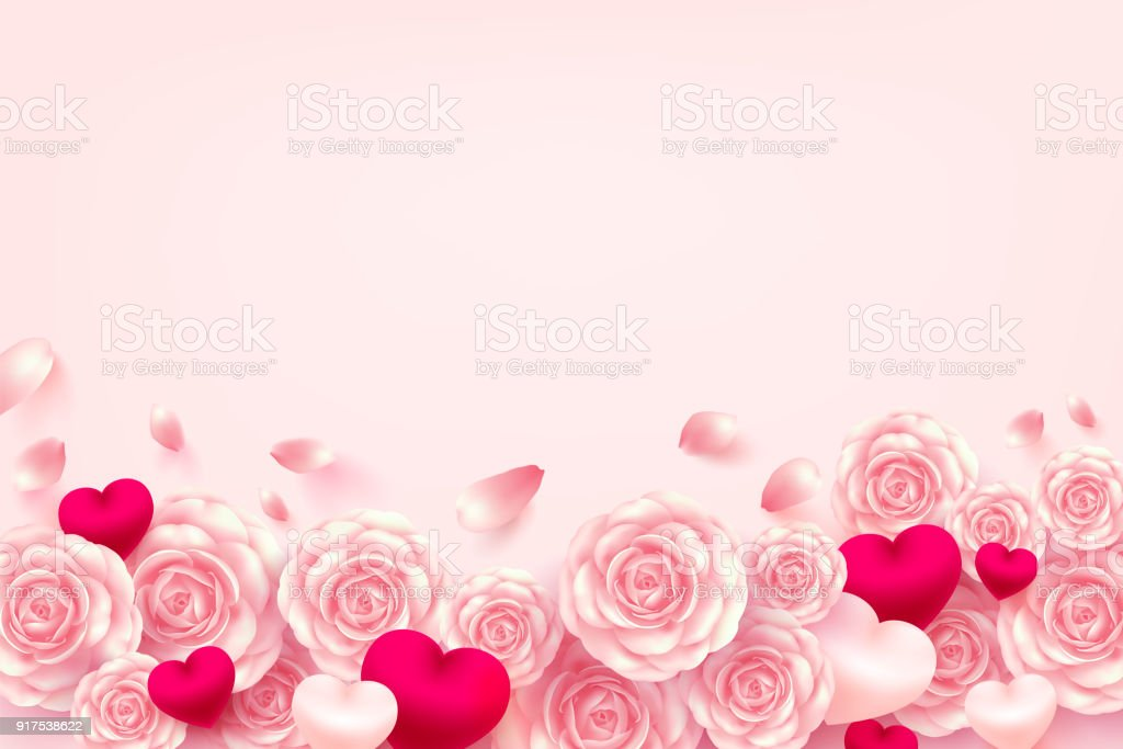 valentine hearts background with sweet heart and pink rose for