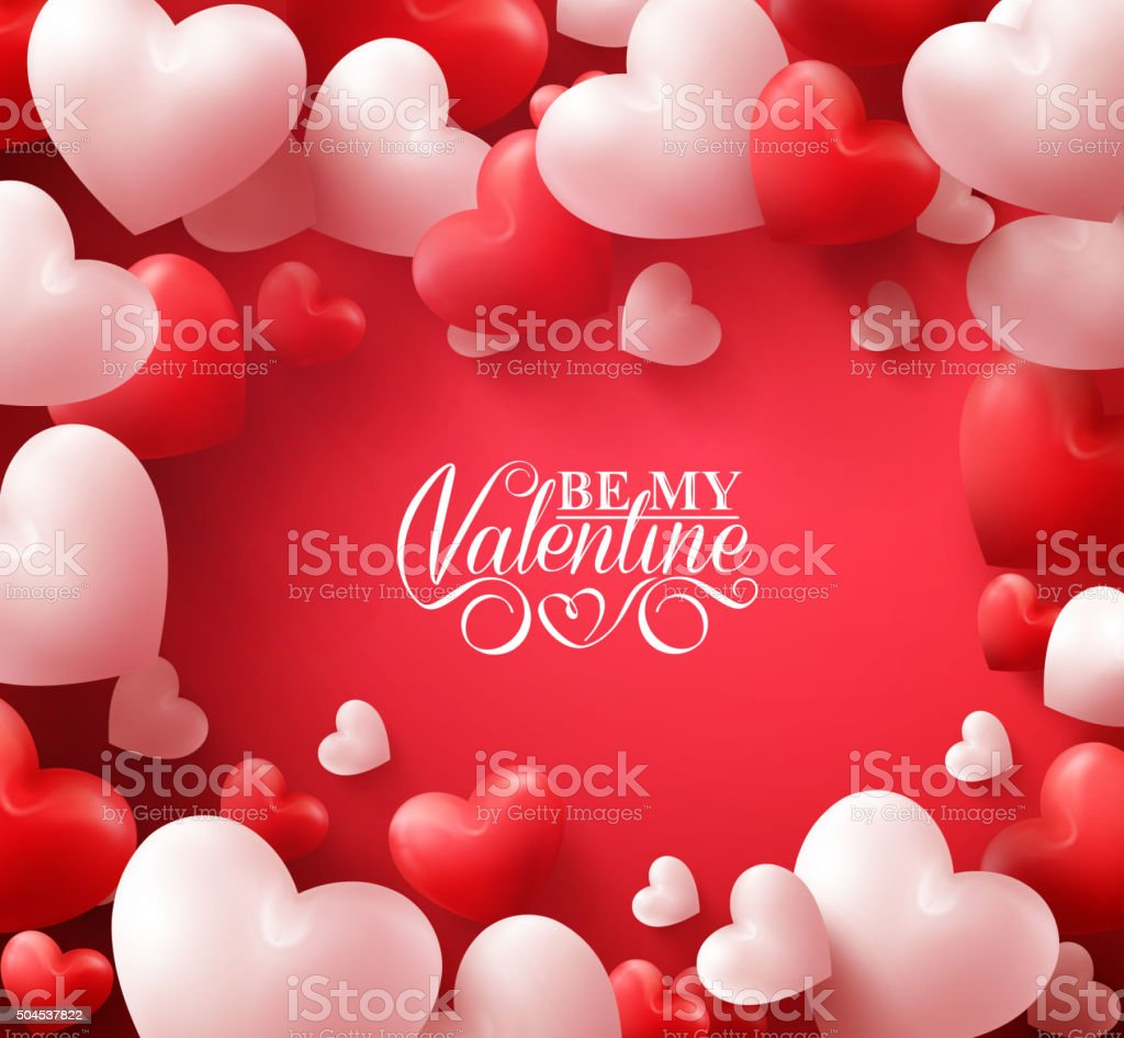 Valentine Hearts in Red Background with Happy Valentines Day Greetings vector art illustration