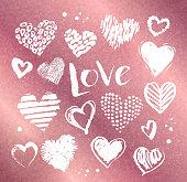 Valentine hearts on rose gold background