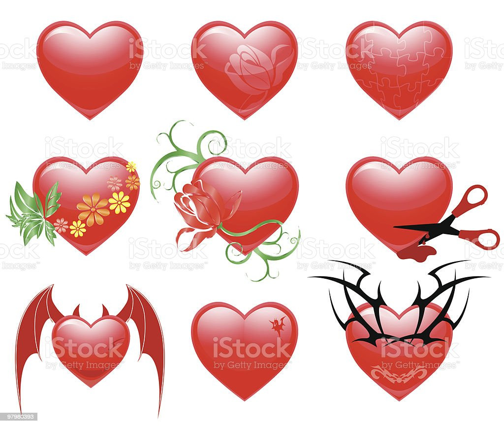 Valentine hearts set royalty-free valentine hearts set stock vector art & more images of animal wing
