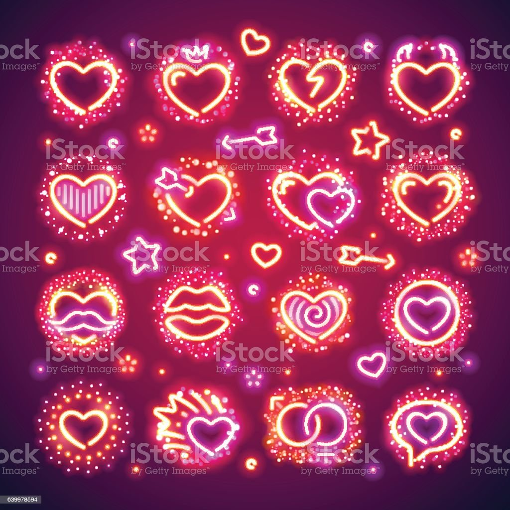 Valentine Hearts with Sparkles vector art illustration