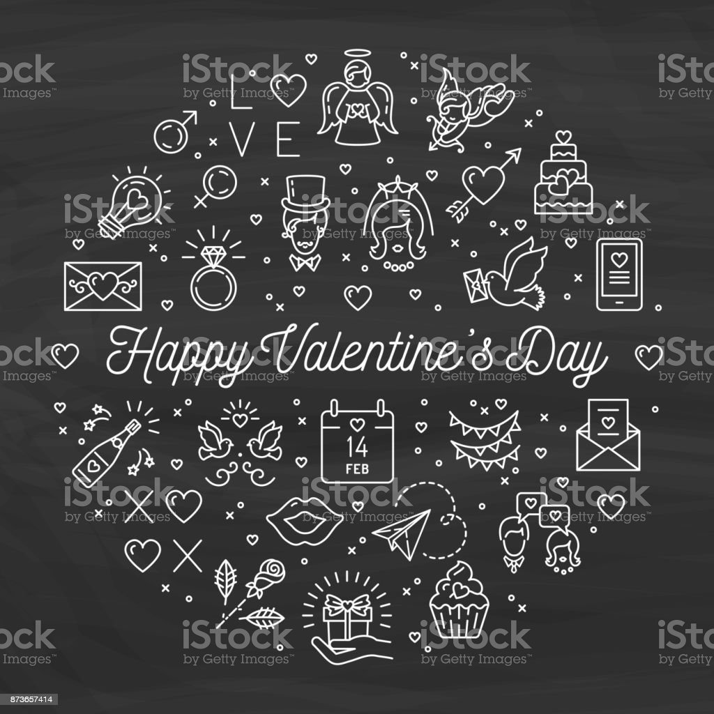Valentine Icons Chalkboard Background Valentines Day Signs And Love