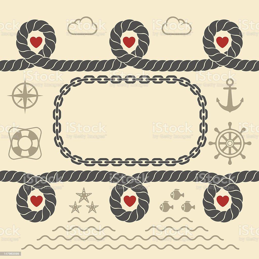 Valentinstag im marine-Stil – Vektorgrafik