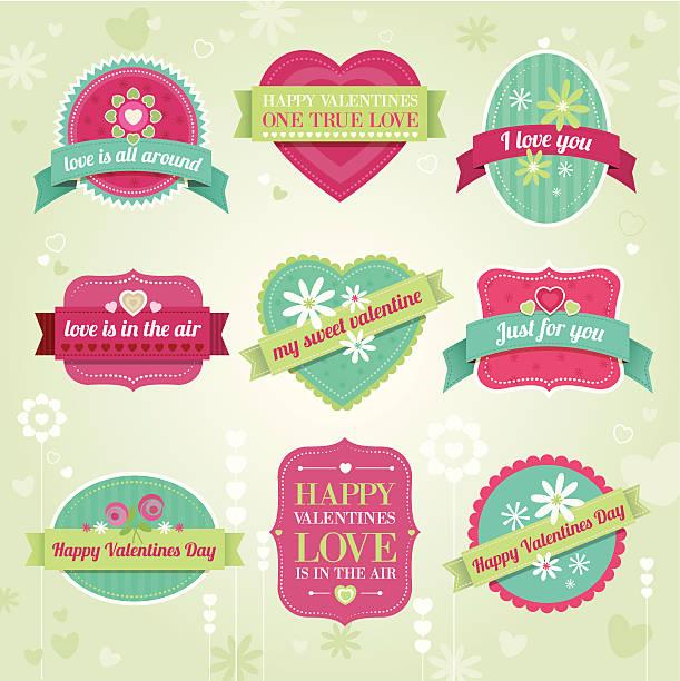 illustrazioni stock, clip art, cartoni animati e icone di tendenza di san valentino etichette - love word