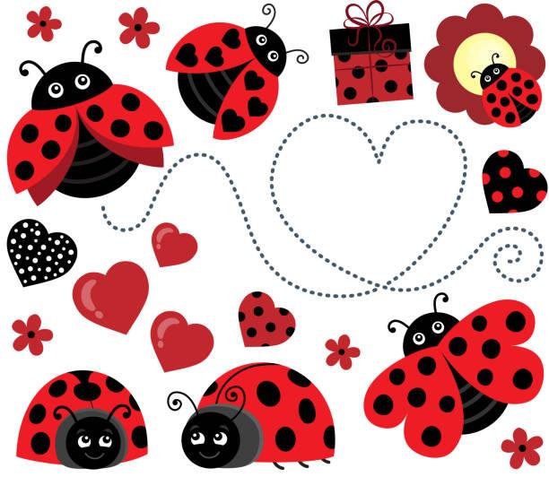 Valentine ladybugs theme image 2 – artystyczna grafika wektorowa