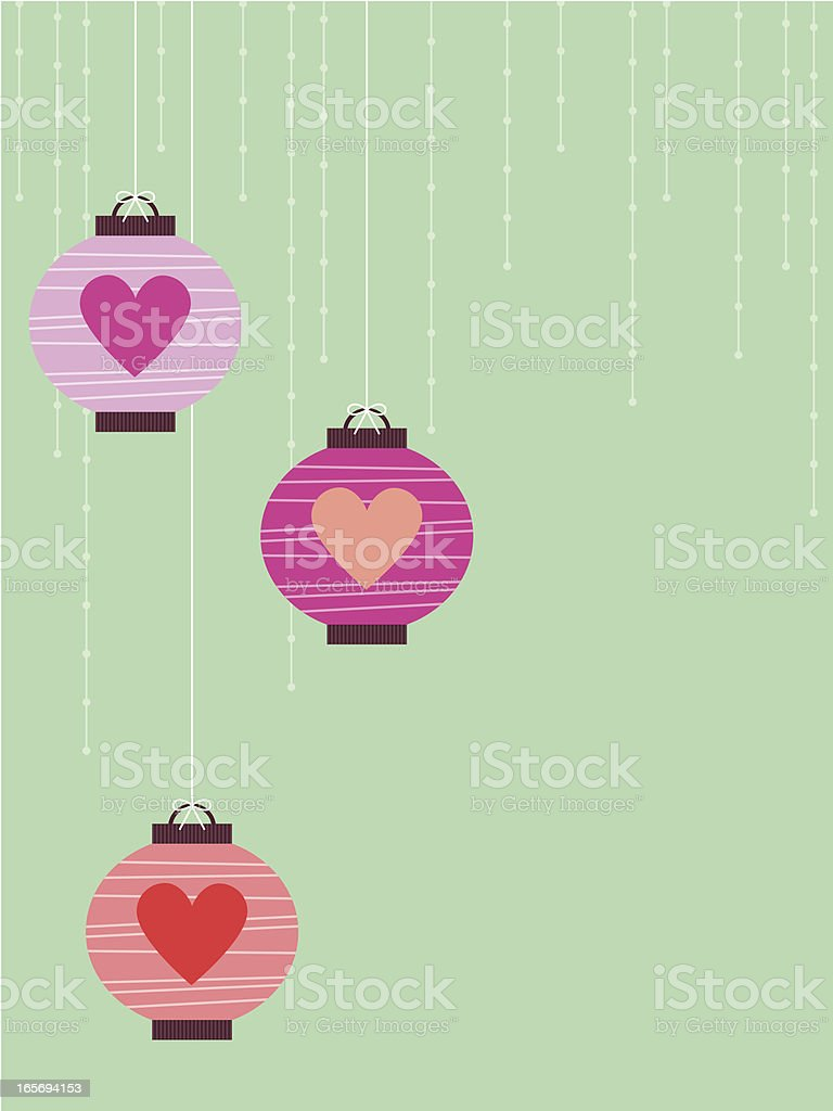 Valentine Lantern Trio royalty-free stock vector art