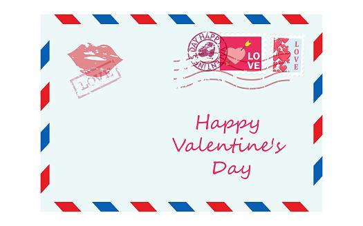 Valentine letter in envelope. Vector