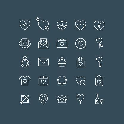 Valentine Line Icons Editable Stroke