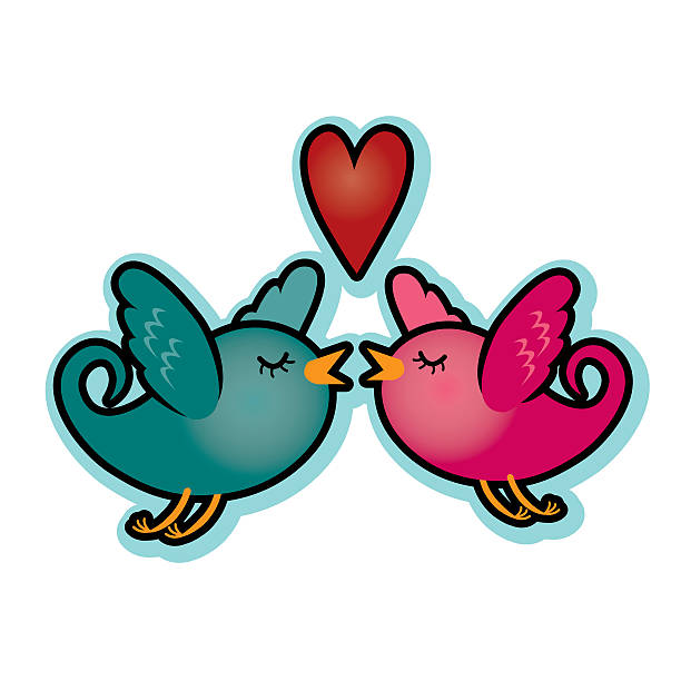 Valentine love birds with heart teal blue and magenta pink vector art illustration