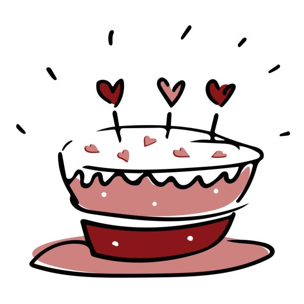 Valentine love cake with hearts in pink white and red vector art illustration