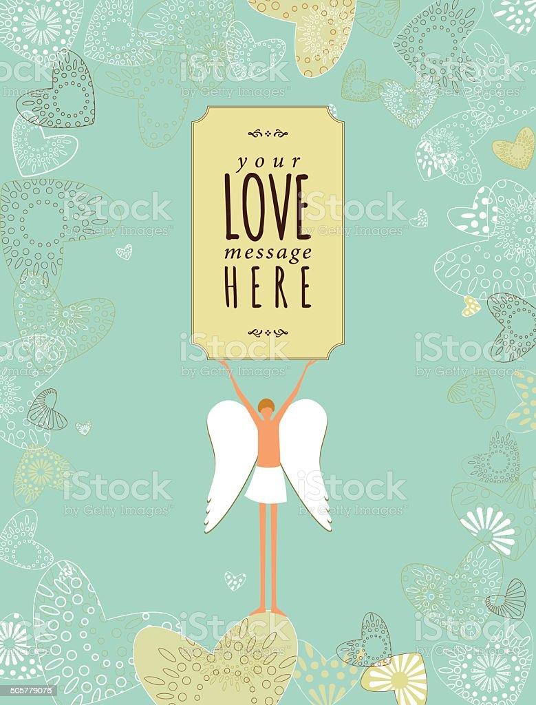 Valentinstag Liebe Cupid SMS Herz Vintage Banner Lizenzfreies Vektor  Illustration