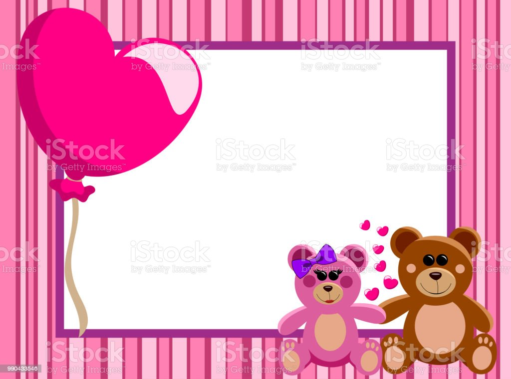Valentine Love Frame Or Border With A Couple Of Teddy Bears In Love ...